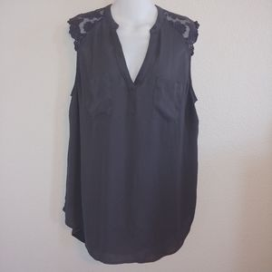 Torrid sheer dark grey lace detail blouse